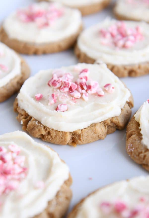 tray of frosted gingerbread sugar cookies