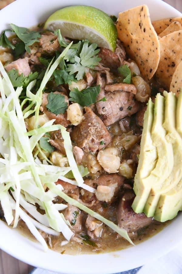 pork, hominy, cilantro, avocado, cabbage