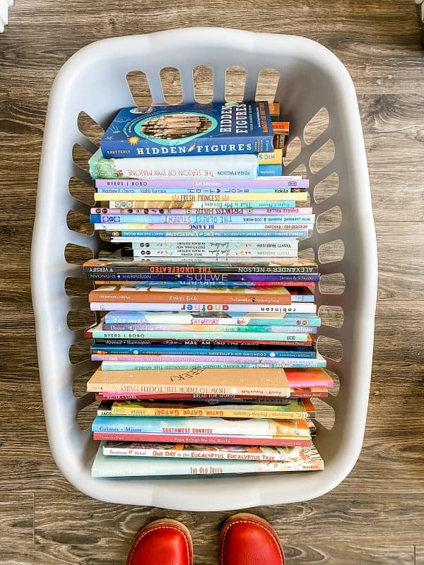 gray basket full of diversity books