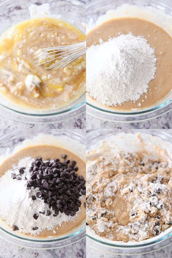 mixing together batter for peanut butter banana bread with chocolate chips