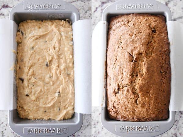 loaf pan with banana bread batter; loaf pan with baked banana bread