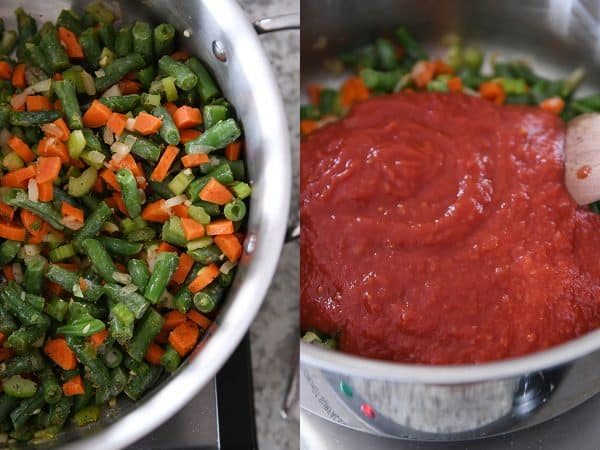 pan of green beans, carrots and onions; another pan of crushed tomatoes in pan with vegetables