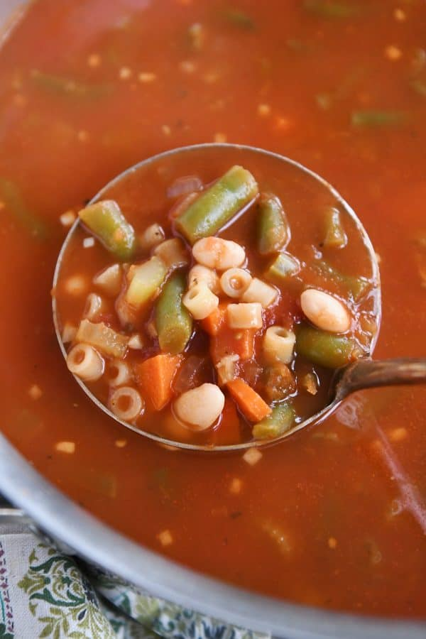 ladle of minestrone soup
