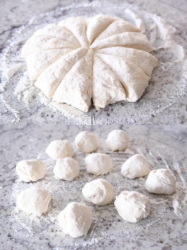 cutting ball of flatbread dough into triangles and then rolling into 12 balls