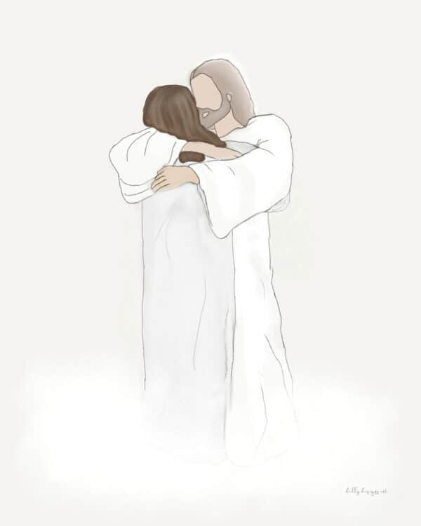 picture of Christ hugging a woman with dark hair