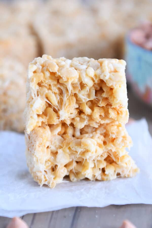 butterscotch rice krispie in half and stacked