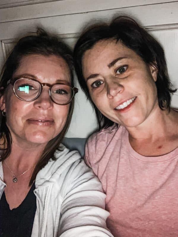 two friends taking selfie