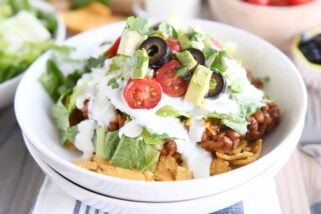 Floating Taco Bowls with Crazy Delicious Creamy Lime Dressing {Stovetop or Slow Cooker}