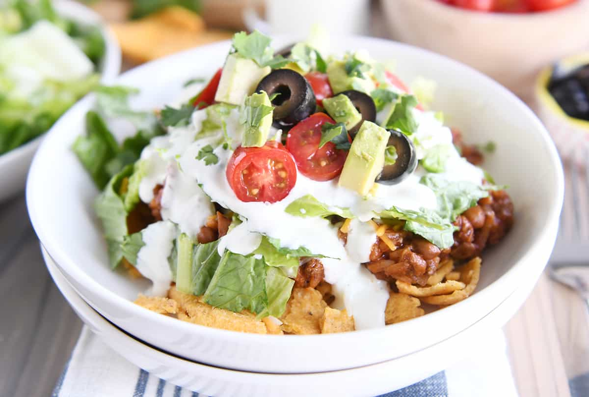 Floating Taco Bowls with Creamy Lime Dressing