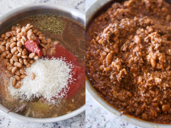 pinto beans, rice, tomato paste, broth, sauce, seasonings in skillet for floating taco bowls recipe