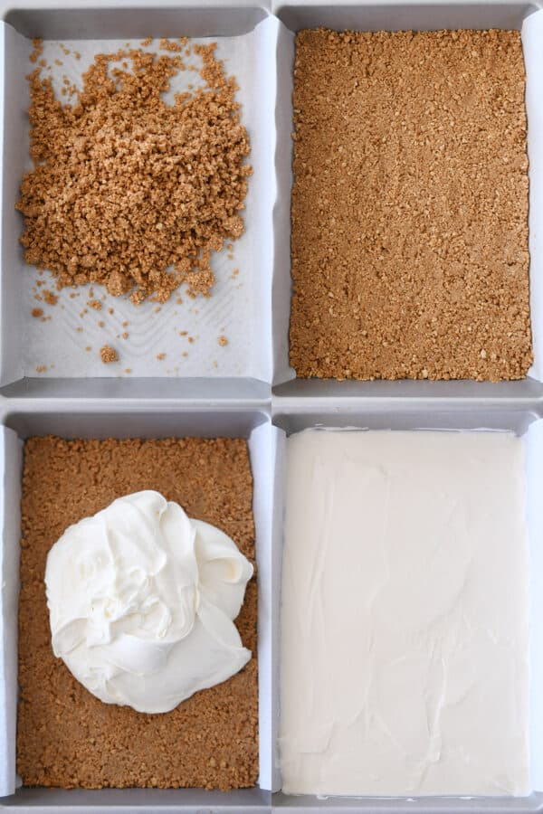 assembling graham cracker crust and layering cheesecake batter in baked crust