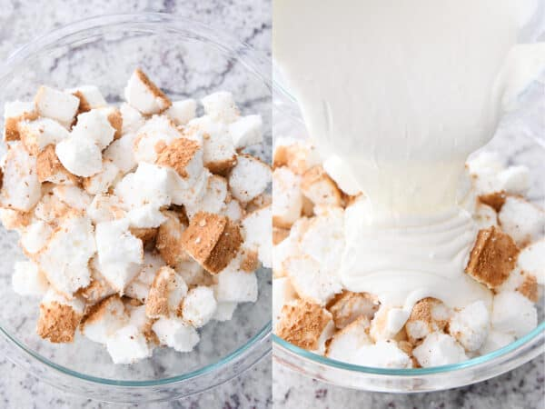 pouring cream cheese mixture over cubed angel food cake in glass bowl