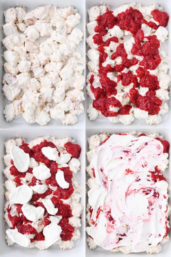 layering angel food cake, raspberry jam, whipped cream in white 9X13-inch pan