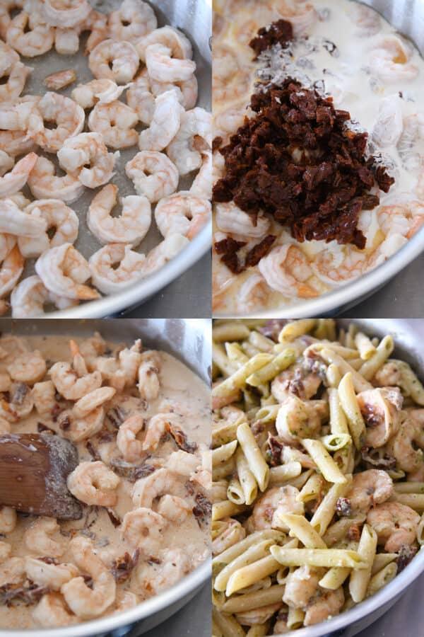 how to make easy shrimp pesto pasta