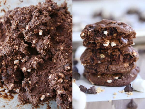 dough for chocolate s'mores cookies side by side with stack of four cookies