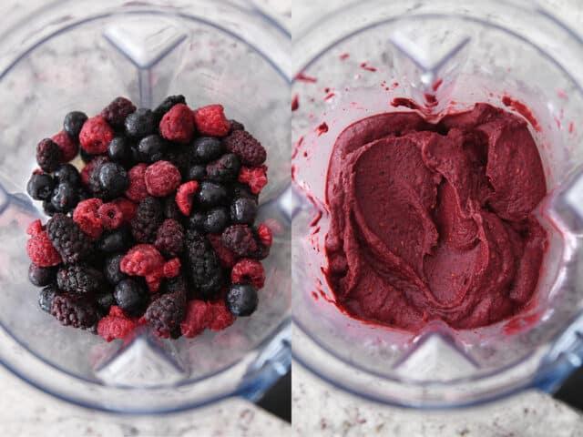frozen berries in blender, smooth berry frozen yogurt in blender