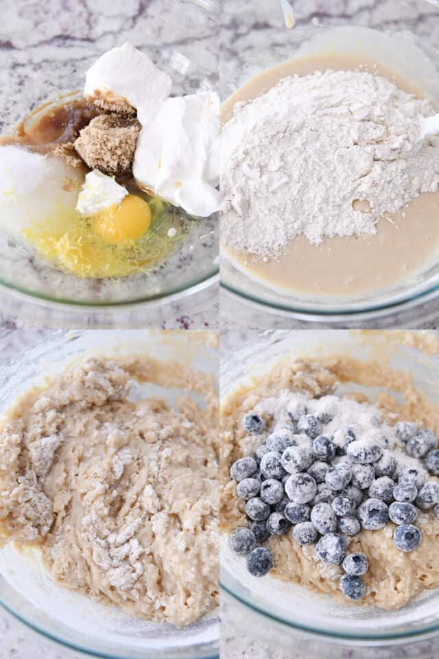 step by step collage of assembling ingredients for blueberry muffin bread