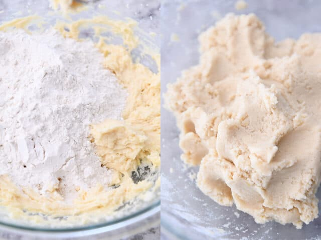 dry ingredients added to sugar cookie dough and mixed until smooth