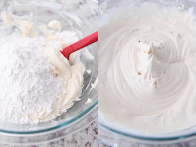 powdered sugar added to glass bowl of cream cheese frosting and then mixed until creamy
