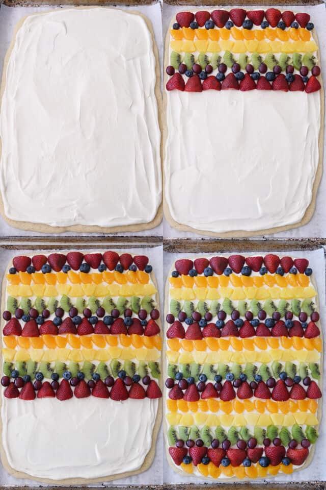 assembling rows of fresh fruit on fruit pizza crust