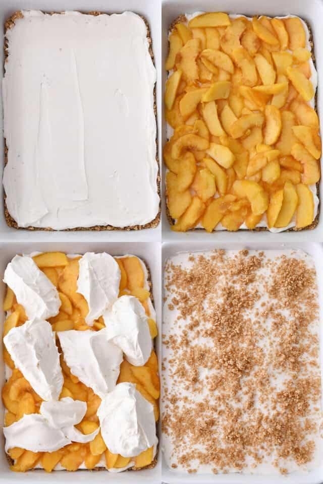 assembling peaches and cream dessert, cream spread on graham cracker crust, sliced peaches on cream layer, dollops of cream on fresh peaches, crumbled graham cracker crumbs on top