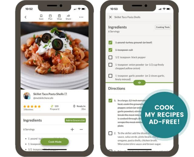 IPhone Mockup with screenshots of recipes; Cook My Recipes Ad-Free!