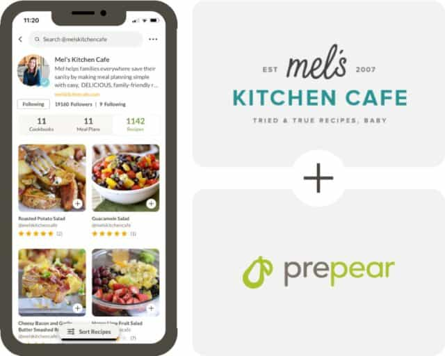iPhone mockup with app screenshot, plus Mel's Kitchen and Prepear logos