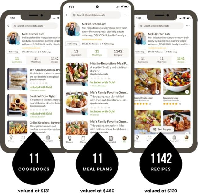 Value stack iphone screenshot with text overlays: 11 cookbooks (valued at 1), 11 mealplans (valued at 0), 1142 recipes (valued at 0)