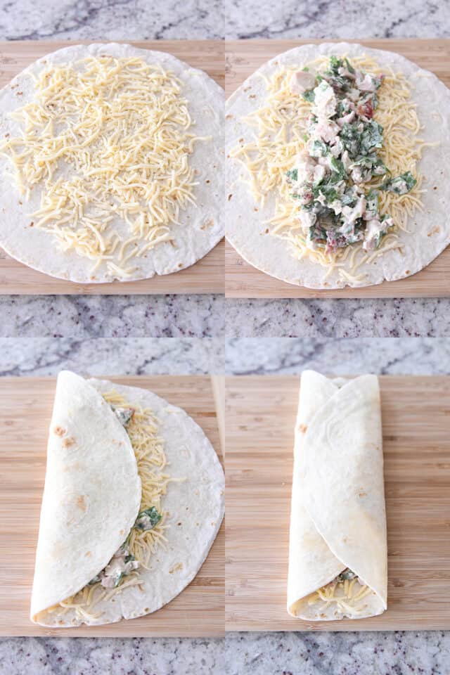 assembling chicken bacon ranch wraps on wood cutting board