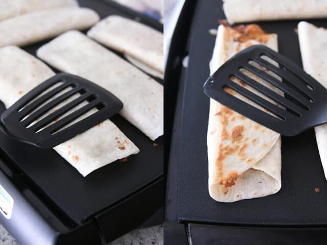 crispy chicken bacon ranch wrap on griddle pressed with spatula