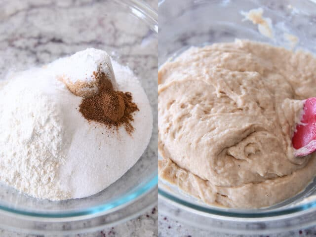 mixing dry ingredients into wet ingredients for doughnut muffins