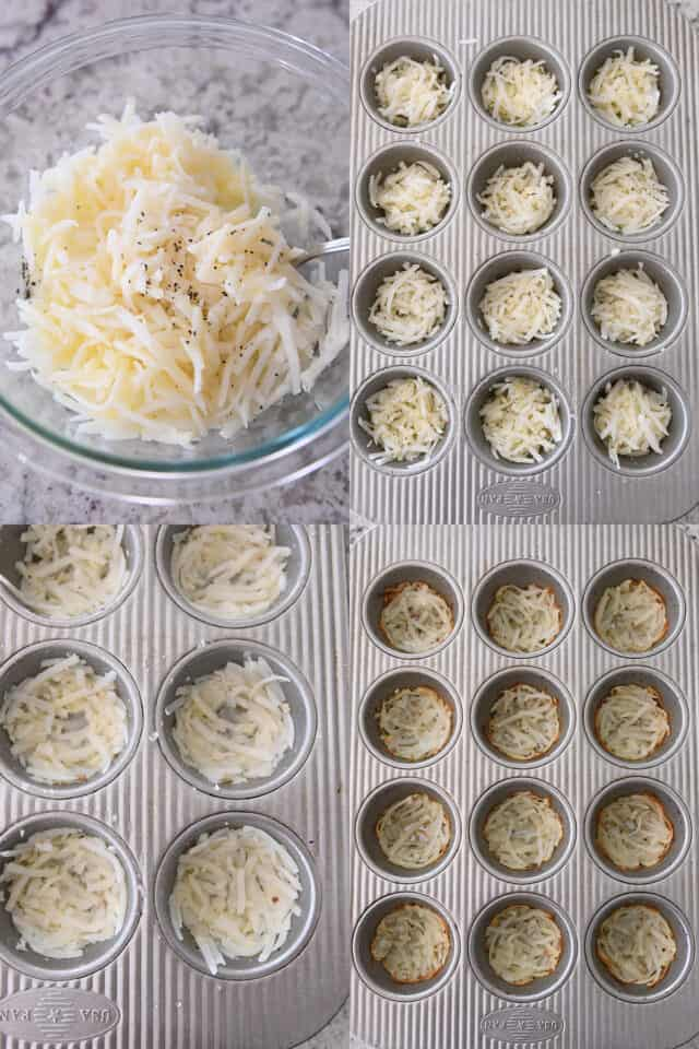mixing hash browns with butter, pressing hash brown mixture into bottom of muffin tin