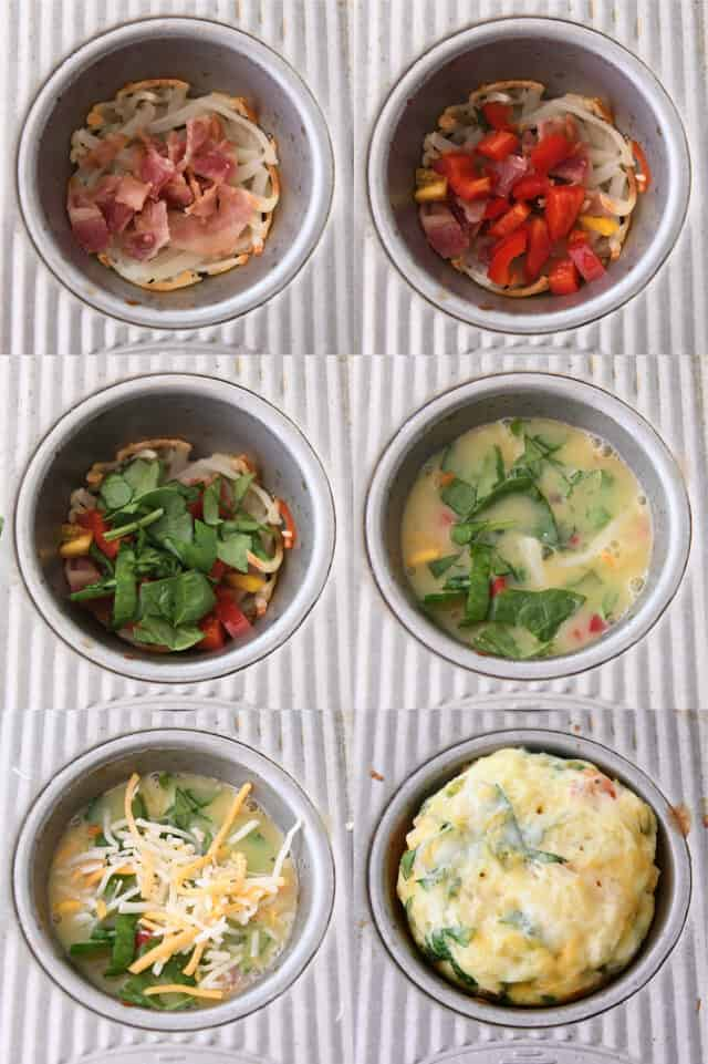 adding bacon, peppers, spinach, eggs, and cheese to hash browns in muffin tin and baking until puffy