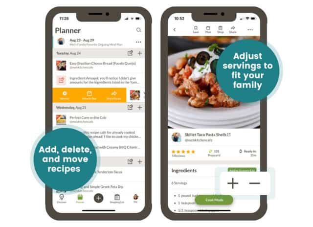 App screenshots with text overlay: Add, delete and move recipes. Adjust servings to fit your family.