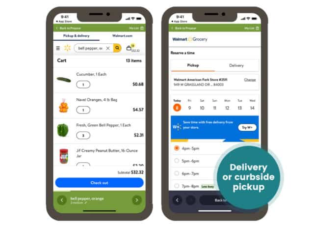 App screenshots with text overlay: Delivery or Curbside Pickup