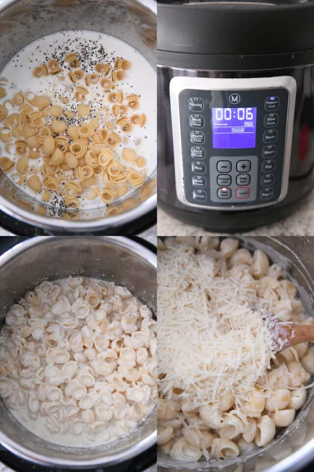 adding pasta shells to milk in pressure cooker, setting time to six minutes on pressure cooker, cooked pasta in pressure cooker, adding parmesan cheese to pasta in pressure cooker