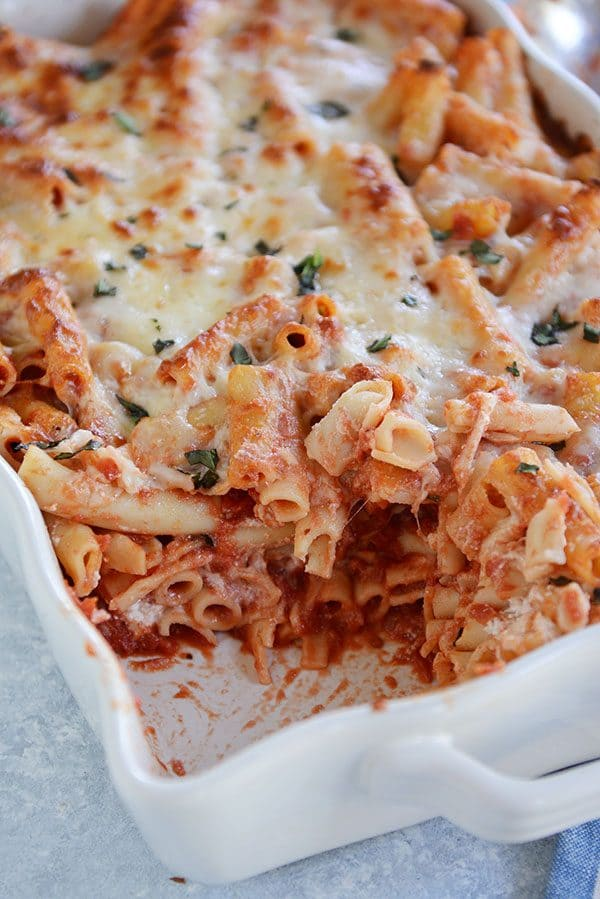 Easy, cheesy baked ziti that is the perfect make-ahead meal (and can be frozen!).