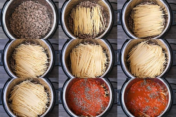 step-by-step photos of how to make instant pot spaghetti