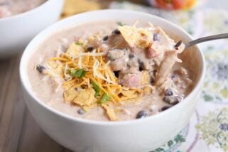 Instant Pot White Chicken Black Bean Chili {Slow Cooker Directions Included!}