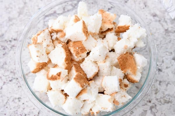 Bowl of angel food cake pieces.