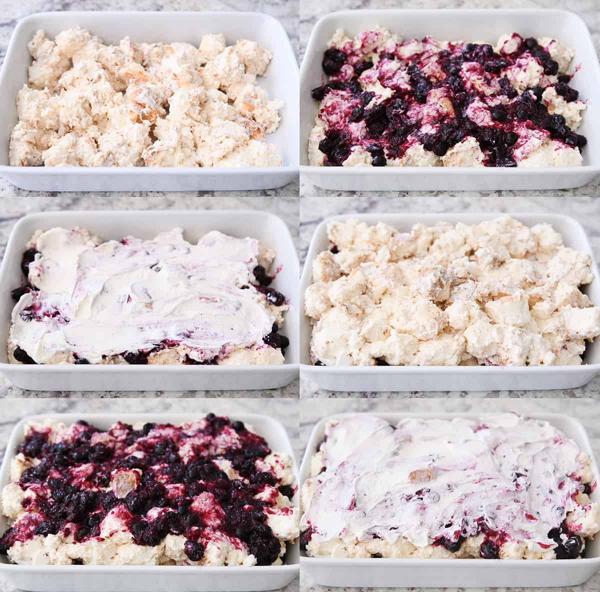 Step by step assembly of heavenly blueberries and cream angel food cake dessert.