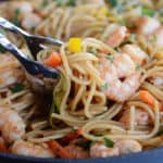 30-Minute Asian Garlic Noodles with Shrimp {or Chicken}