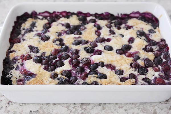 This tried-and-true, easy recipe for blueberry dump cake is made with a simple cake mix, fresh or frozen blueberries, butter, and milk. No mixing!