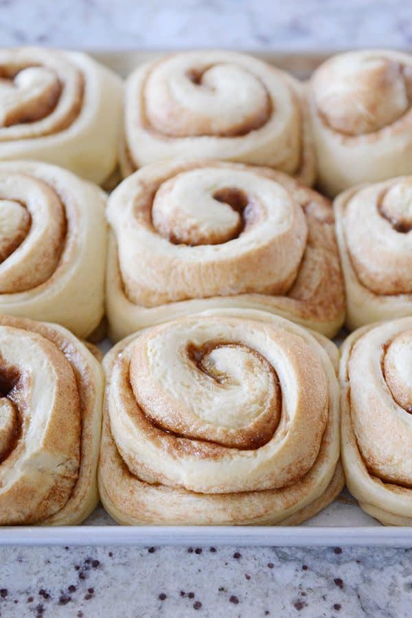 A sheet pan of cooked, unfrosted cinnamon rolls.
