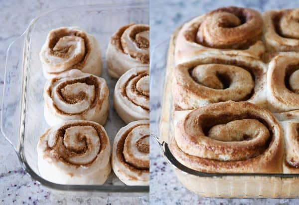 Cinnamon rolls rising and baked in glass pan.