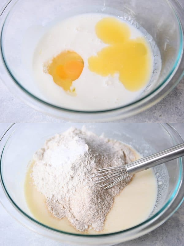Process shots of mixing egg and buttermilk and adding flour to pancake batter.
