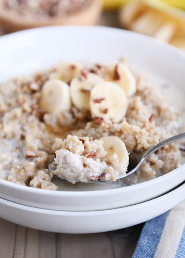Spoonful of Instant Pot banana bread steel cut oats.