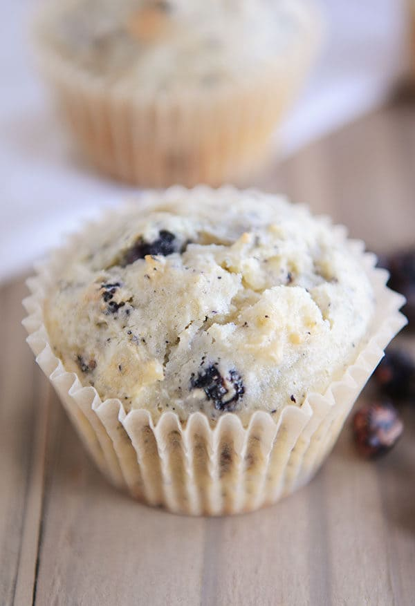 A blueberry cream cheese muffin in a white muffin liner.