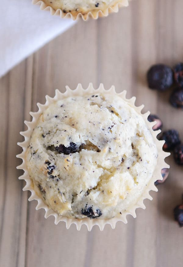 Top view of a blueberry muffin in a muffin liner with fresh blueberries on the side.