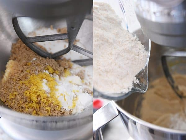 Mixing blueberry muffin cookie batter with lemon zest and adding flour.